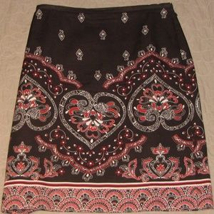 Ann Taylor Loft Paisley Brown Red Skirt Size 0